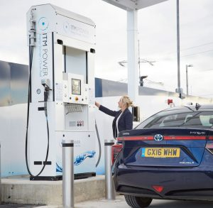 Filling a car with hydrogen fuel