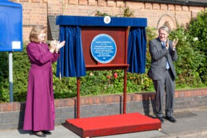 The Bishop of Aston, The Right Reverend Anne Hollingshurst, and Charles Horsfall, Chairman of Webster & Horsfall unveil the Blue Plaque